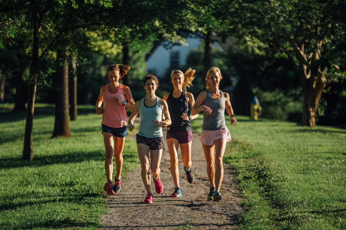 A group of women running